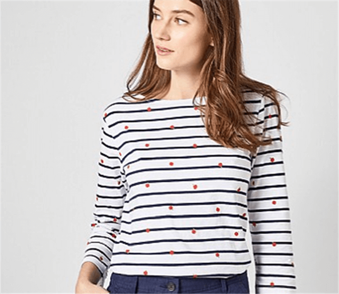Womens Stripe Apple Print Breton