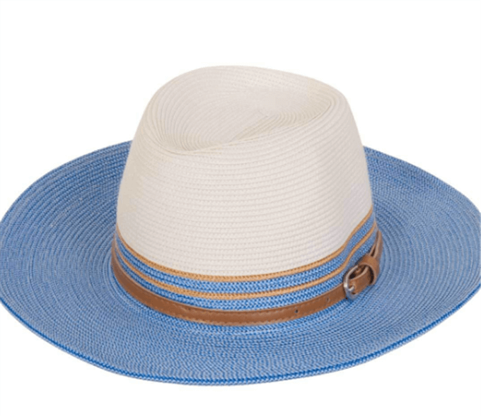 Bora -  Blue and Cream Beach Hat